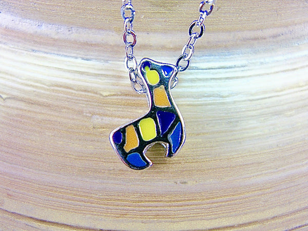 Alpaca Enamel 925 Sterling Silver Pendant Necklace