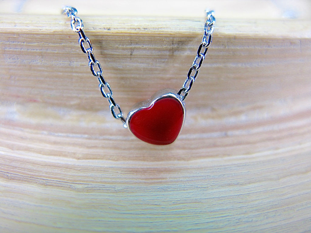 Petite Red Heart 925 Sterling Silver Pendant Necklace