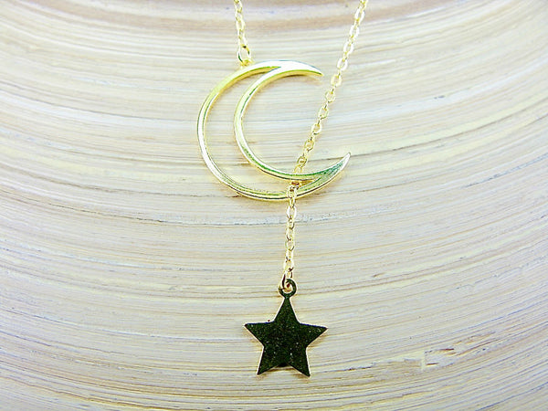 Crescent Moon Dangling Star Gold Plated Sterling Silver Pendant Necklace