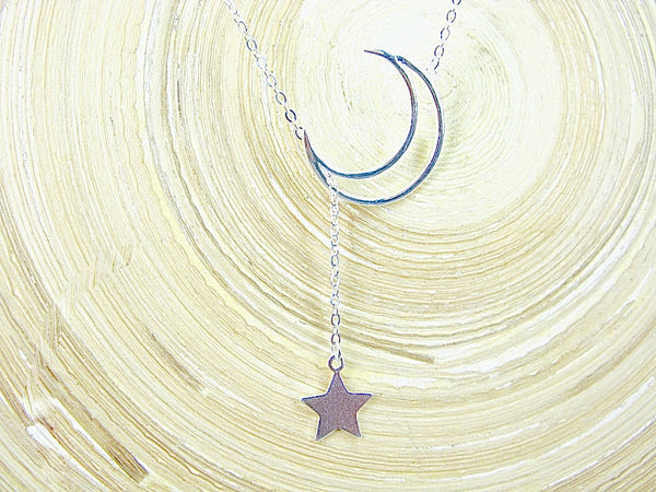 Crescent Moon Dangling Star Sterling Silver Pendant Necklace