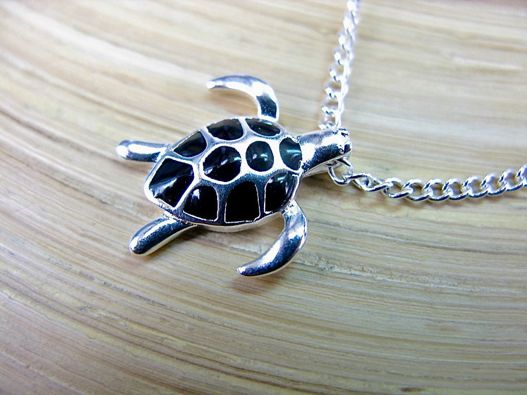 Large Turtle Pendant Chain Necklace 925 Sterling Silver