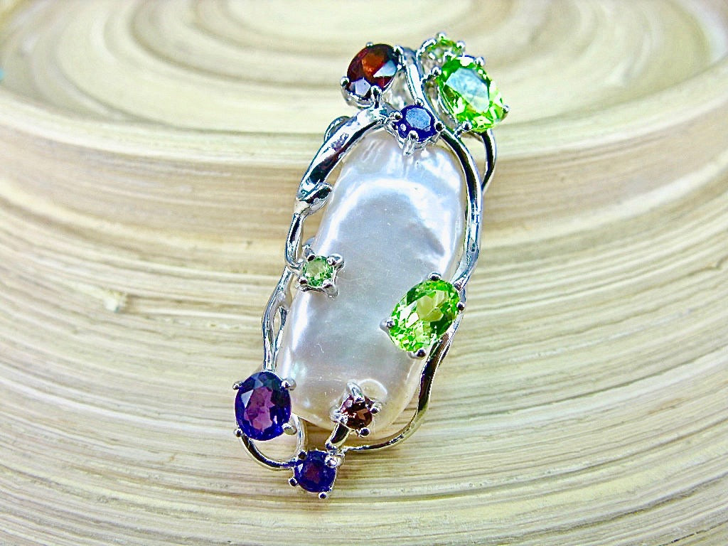 Baroque Pearl Multi Gemstone 925 Sterling Silver Pendant