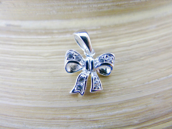Bow Ribbon Crystal 925 Sterling Silver Pendant