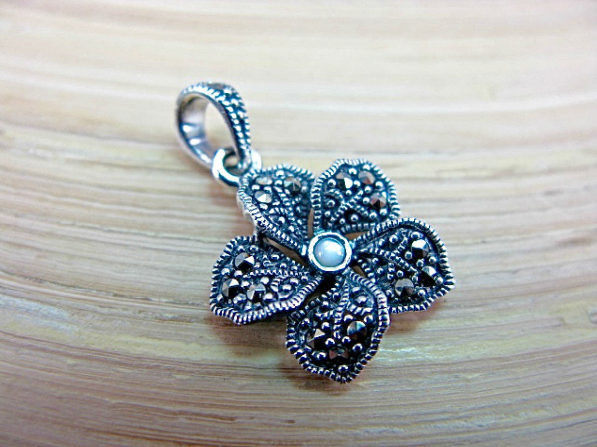 Flower Marcasite Mother of Pearl 925 Sterling Silver Pendant