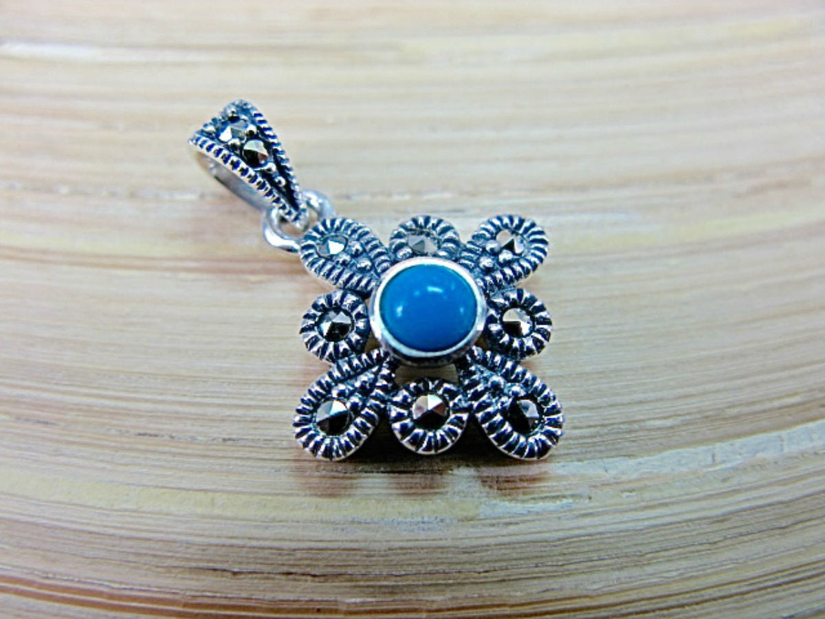 Flower Marcasite Turquoise 925 Sterling Silver Pendant