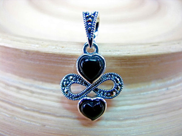 Double Hearts Onyx Marcasite 925 Sterling Silver Pendant