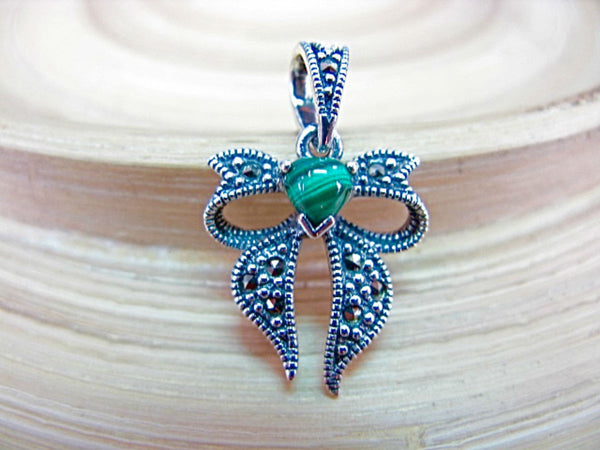 Ribbon Bow Marcasite Malachite 925 Sterling Silver Pendant