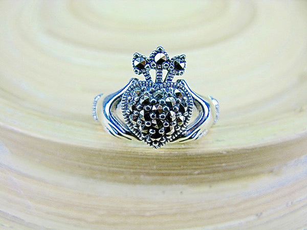 Large Claddagh Marcasite Heart Ring in 925 Sterling Silver