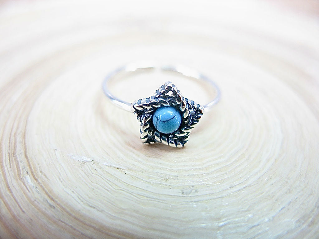 Star Turquoise Oxidized Pinky Ring 925 Sterling Silver