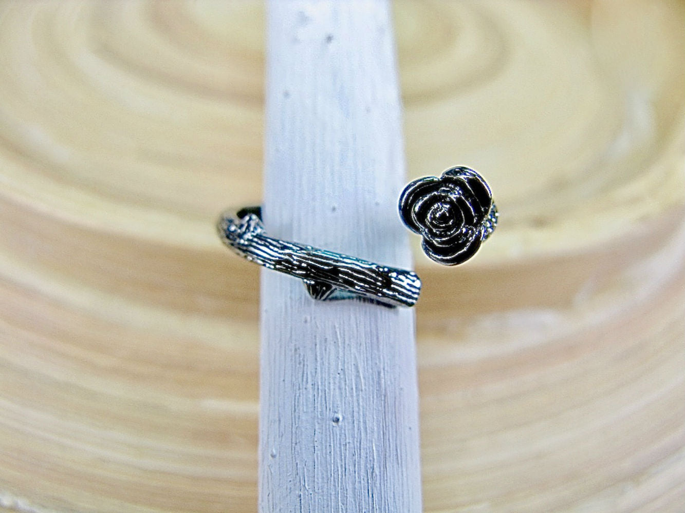 Rose Flower Oxidized 925 Sterling Silver Ring