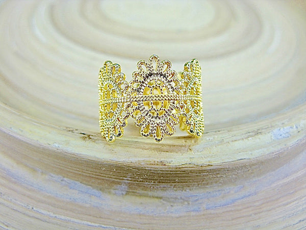 Crown Filigree Eternity Gold Plated 925 Sterling Silver Ring