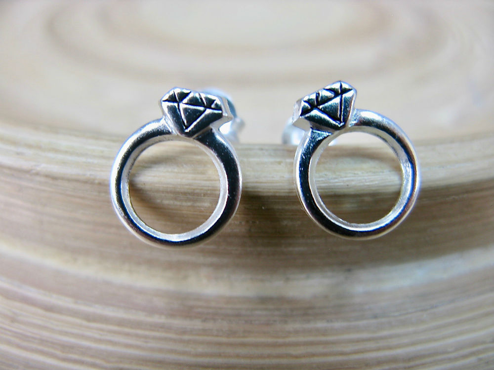 Diamond Ring Shaped 925 Sterling Silver Stud Earrings