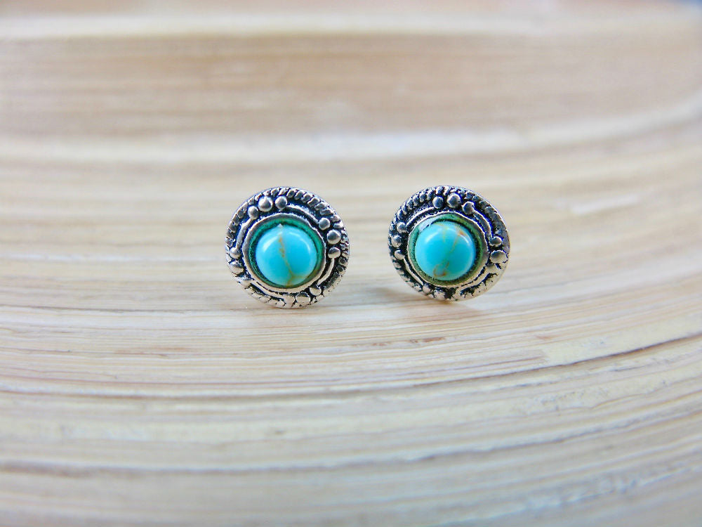 Turquoise 7mm Minimalist Stud Earrings in 925 Sterling Silver
