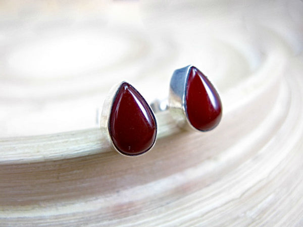 Carnelian Pear Shaped 925 Sterling Silver Stud Earrings