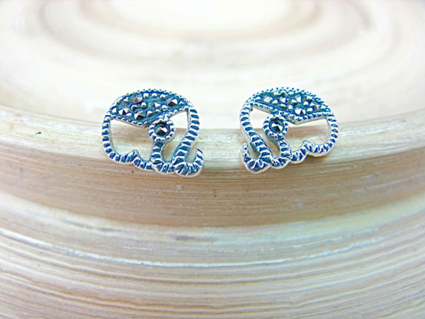 Elephant Marcasite 925 Sterling Silver Stud Earrings