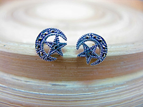 Crescent Moon Star Marcastier Earrings Stud in 925 Sterling Silver