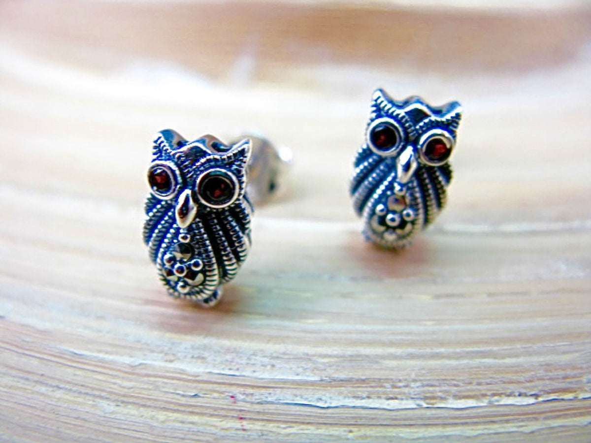 Owl Marcasite 925 Sterling Silver Stud Earrings