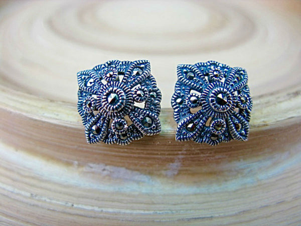 Filigree Marcasite Square Sterling Silver Stud Earrings