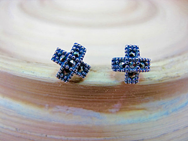 Cross Marcasite Elegant Sterling Silver Stud Earrings