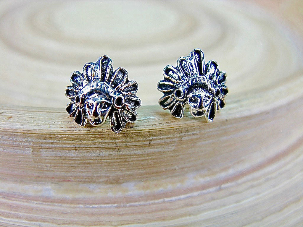 Native American Indian Chief 925 Sterling Silver Stud Earrings