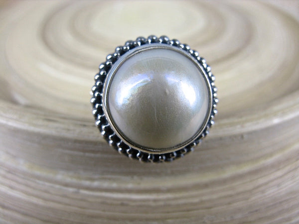 Large Mother of Pearl Balinese Bead 925 Sterling Silver Ring