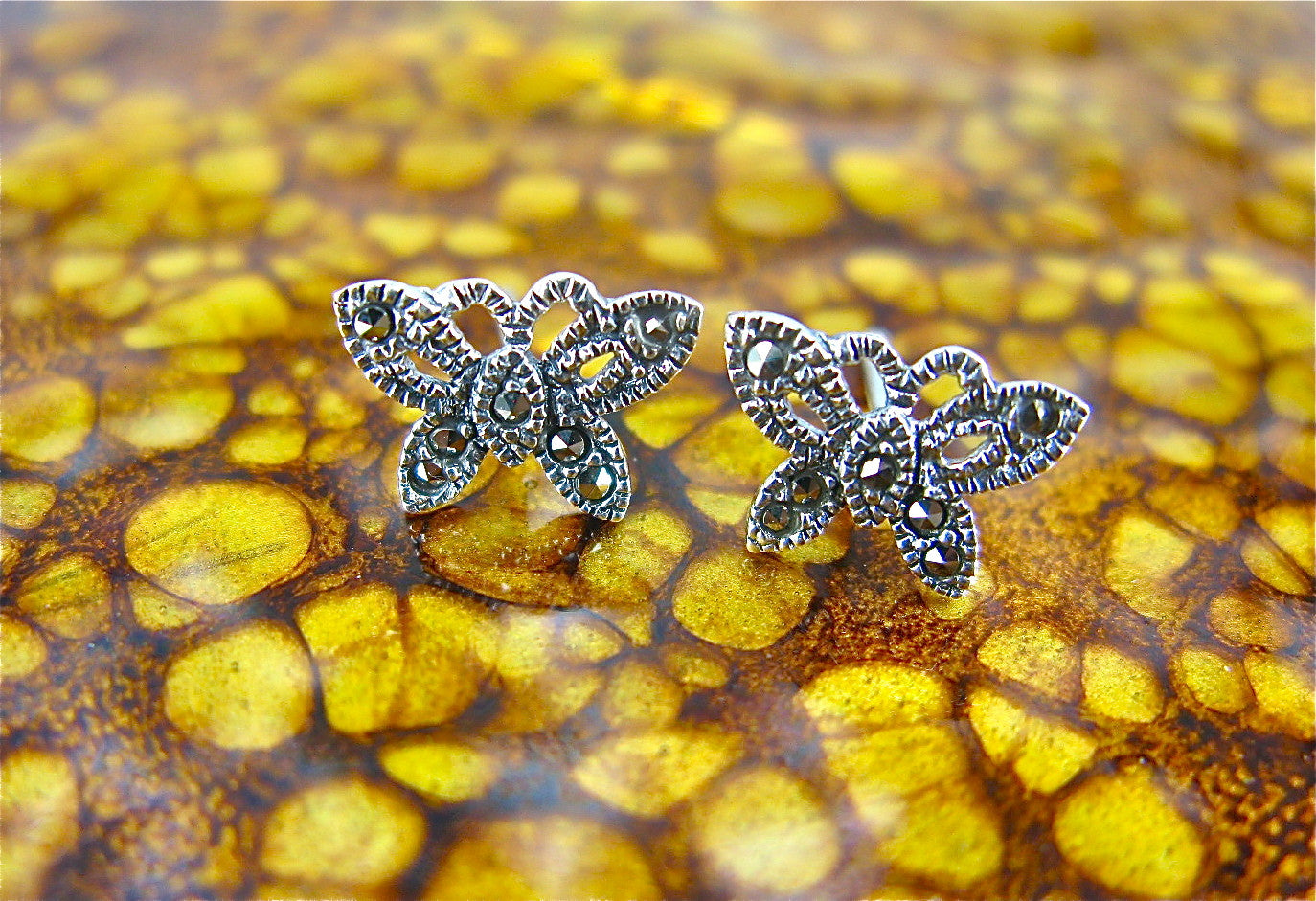 Butterfly Marcasite 925 Sterling Silver Stud Earrings Stud Faith Owl - Faith Owl