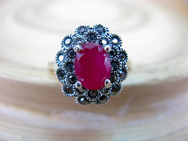 Marcasite Simulated Ruby 925 Sterling Silver Ring
