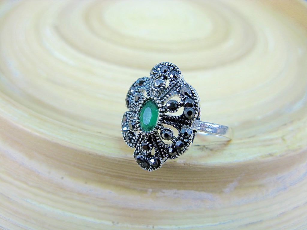 Marcasite Simulated Emerald Filigree 925 Sterling Silver Ring