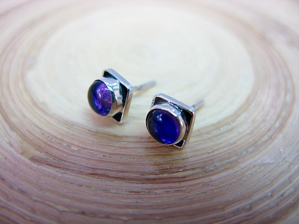 Amethyst 6mm Square Minimalist Stud Earrings in 925 Sterling Silver