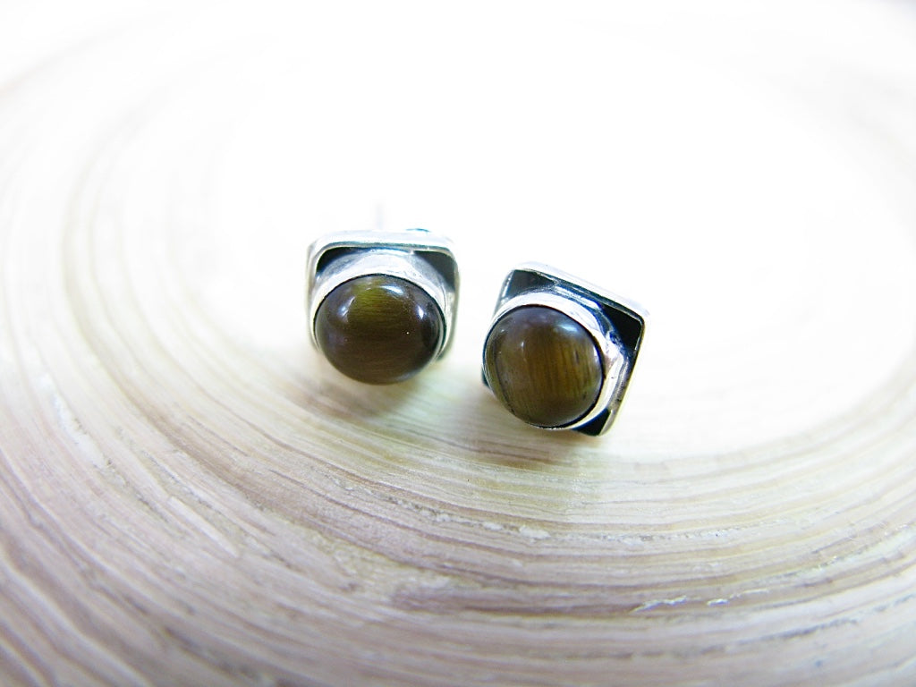 Tiger Eye 6mm Square Minimalist Stud Earrings in 925 Sterling Silver