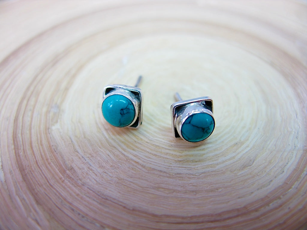 Turquoise 6mm Square Minimalist Stud Earrings in 925 Sterling Silver