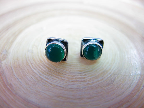 Green Chalcedony 6mm Square Minimalist Stud Earrings in 925 Sterling Silver