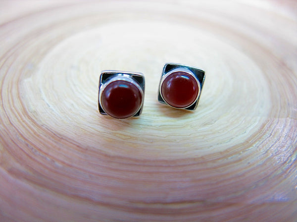 Carnelian 6mm Square Minimalist Stud Earrings in 925 Sterling Silver
