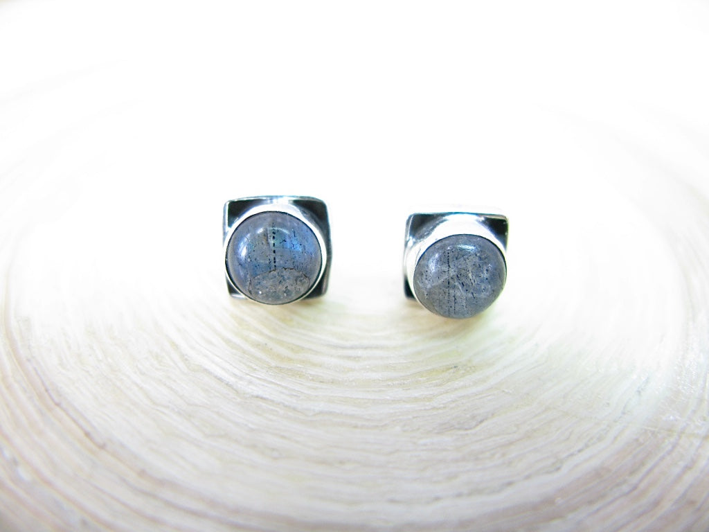 Moonstone 6mm Square Minimalist Stud Earrings in 925 Sterling Silver