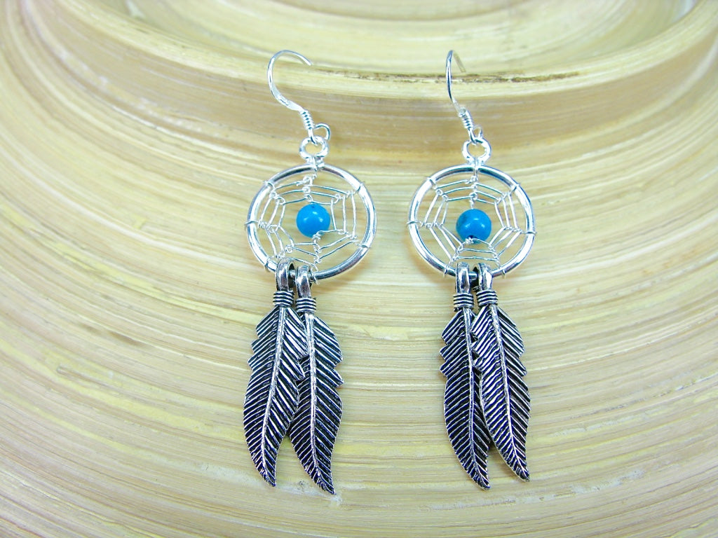 Turquoise Boho 925 Sterling Silver Earrings