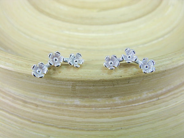 3 Flower Stud Earrings in 925 Sterling Silver