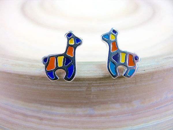 Alpaca Enamel Stud Earrings in 925 Sterling Silver