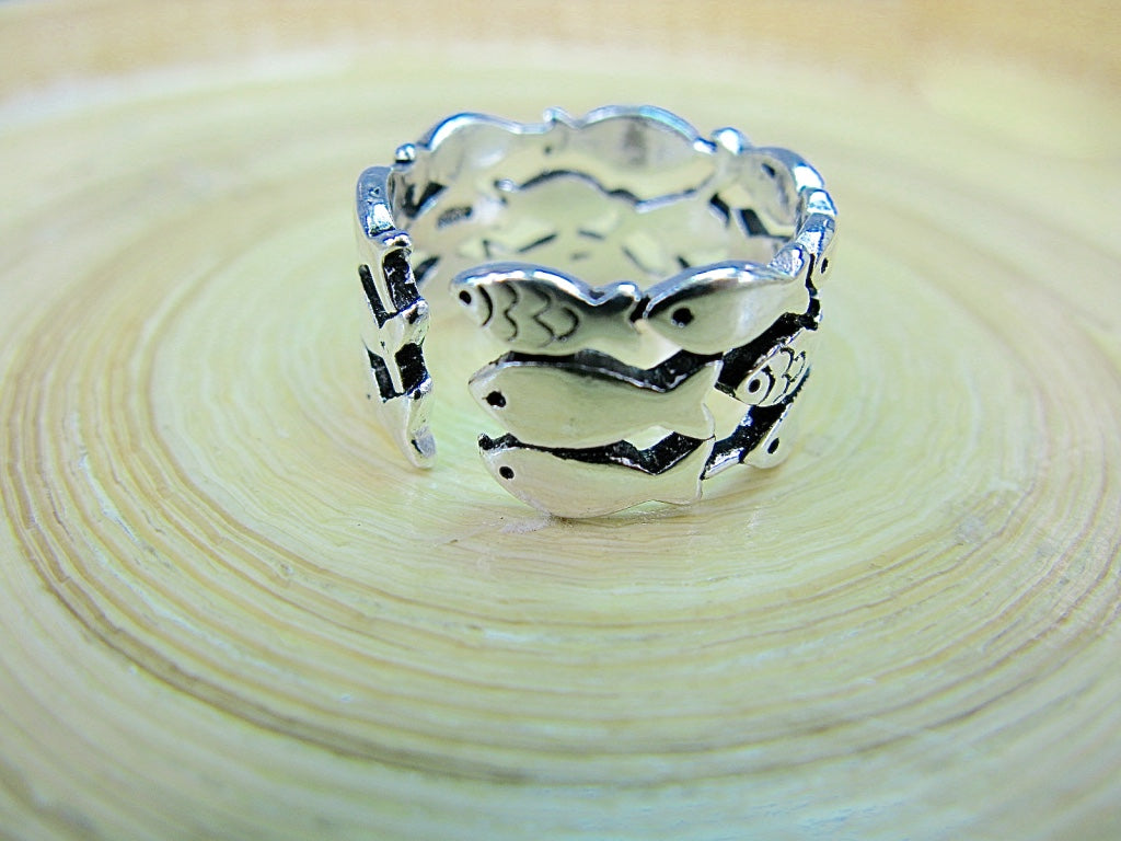 Engraved Fishes Ring in 925 Sterling Silver