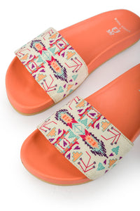 Orange Aztec Sliders: Payal Singhal X Fizzy Goblet- Limited Edition