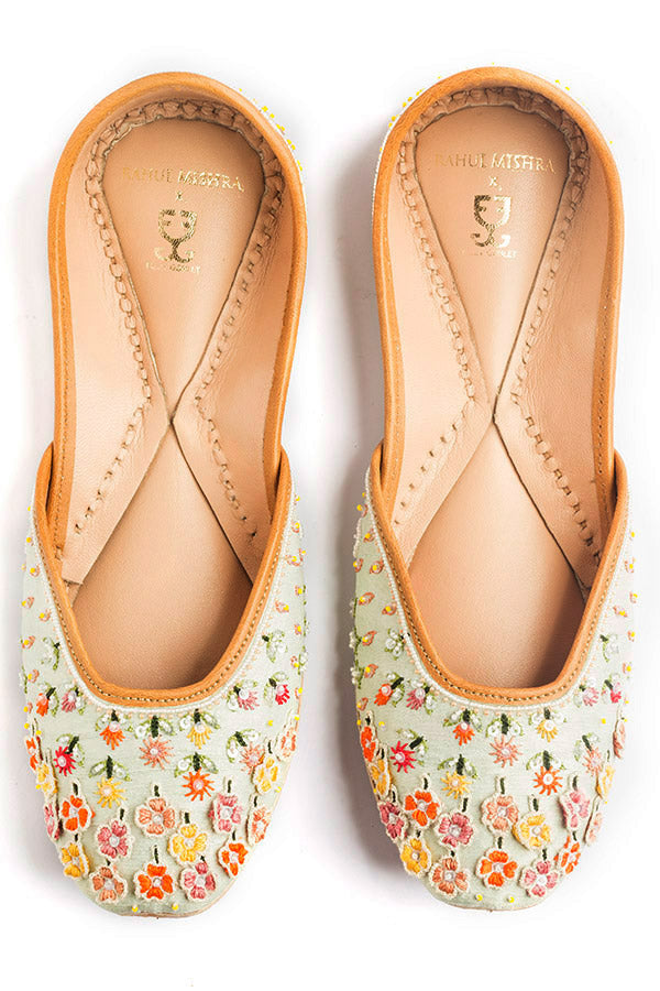 Falling Flowers Mint : Juttis - Limited Edition: Rahul Mishra X Fizzy Goblet -  Juttis - Fizzy Goblet