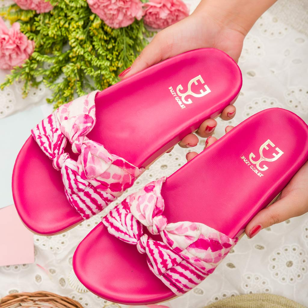 Bubblegum : Vegan Sliders- Pink - Hot Pink Lounge Slippers - Fizzy Goblet