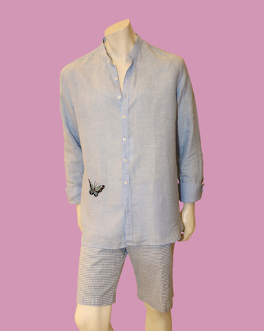 VAN LAACK LINEN SHIRT WITH BUTTERFLY EMBROIDERY