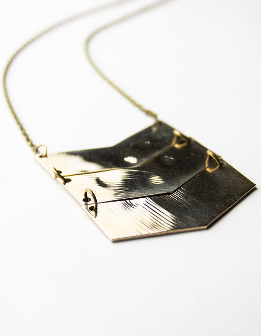 Chevron - Reclaimed Cymbal Necklace