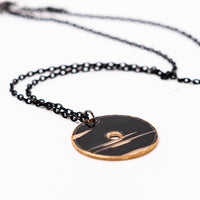 Load image into Gallery viewer, Dark Circle - Reclaimed Cymbal Necklace