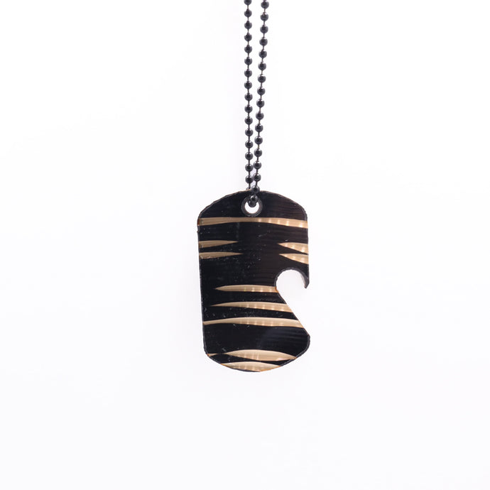 Dark Dogtag Chain  - Reclaimed Cymbal Bottle Opener