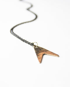 Flying V - Reclaimed Cymbal Necklace