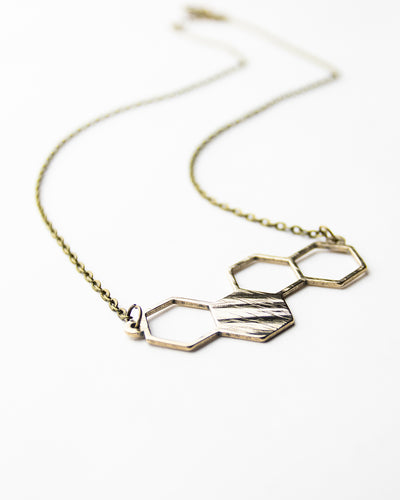 Hexagon - Reclaimed Cymbal Necklace