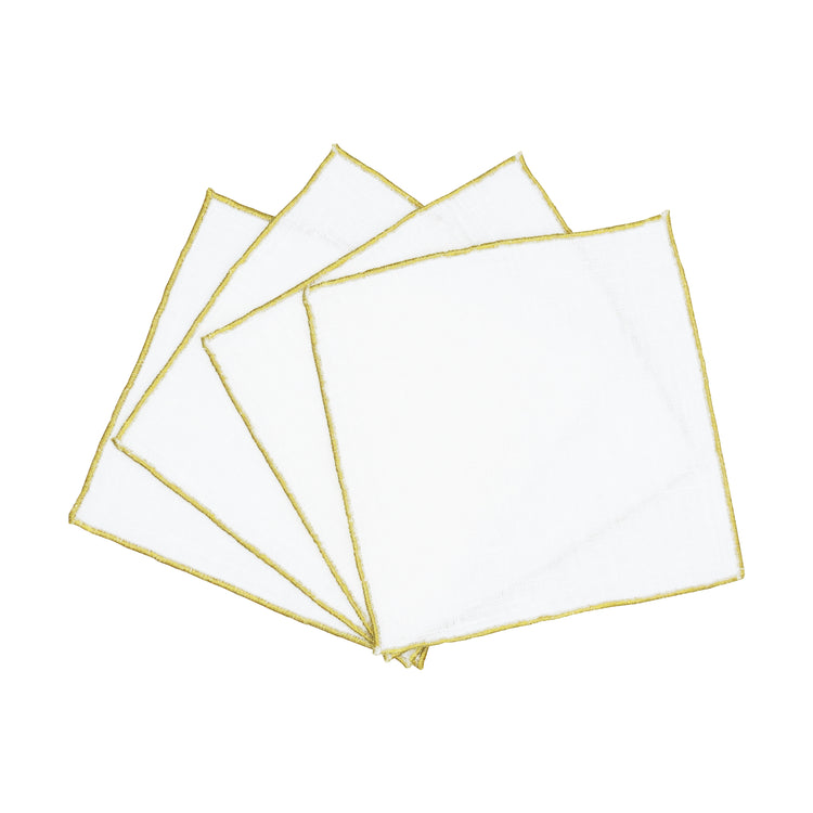 WHITE & GOLD COCKTAIL NAPKINS