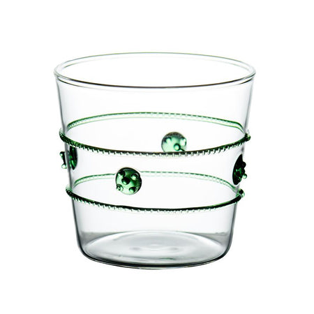 GREEN MEDALLION OLD FASHIONED GLASS