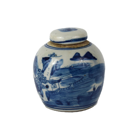 ANTIQUED LANDSCAPE LIDDED JAR